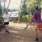 Joel & Ken passing Joel's cane knives
