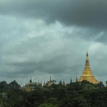 stupa over trees