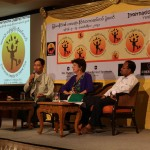 From left U Kyaw Oo (principle Training school for boys Thanlyin), center Jude Smith Juggling festival organizer, right Myo Win Smile Director being at the press conference