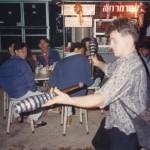 Jim juggling in Mae Sai street